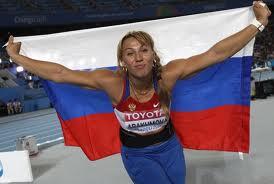 Мария Абакумова - победительница первого этапа Бриллиантовой лиги 2012 в Дохе прыжках в метании копья