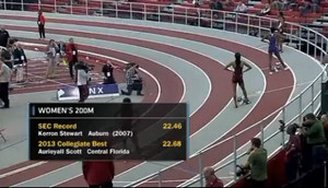 Kimberly Duncan 22.54 200m World Leade at the SEC Indoor Championships