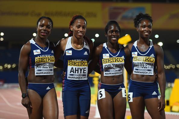 Женская сборная команда Америки побеждает в эстафете 4х100 м на Континентальном Кубке в Марракеше + Видео