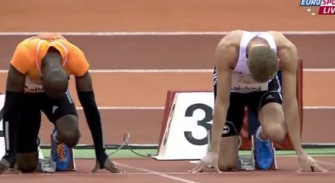 Kim Collins 6.55 - Men's 60 Metres Semi Final Düsseldorf Meeting 2015