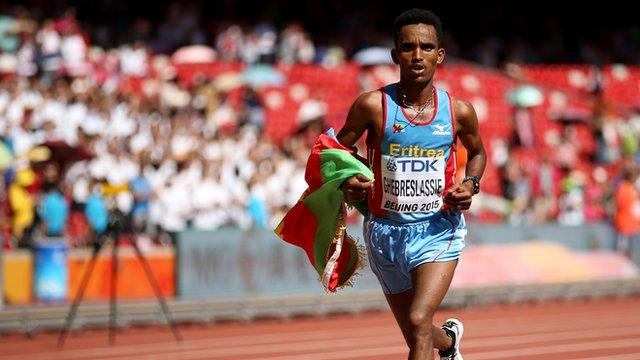 Ghirmay Ghebreslassie (ERI) 2:12.28 wins Marathon Final Beijing World Champs 2015