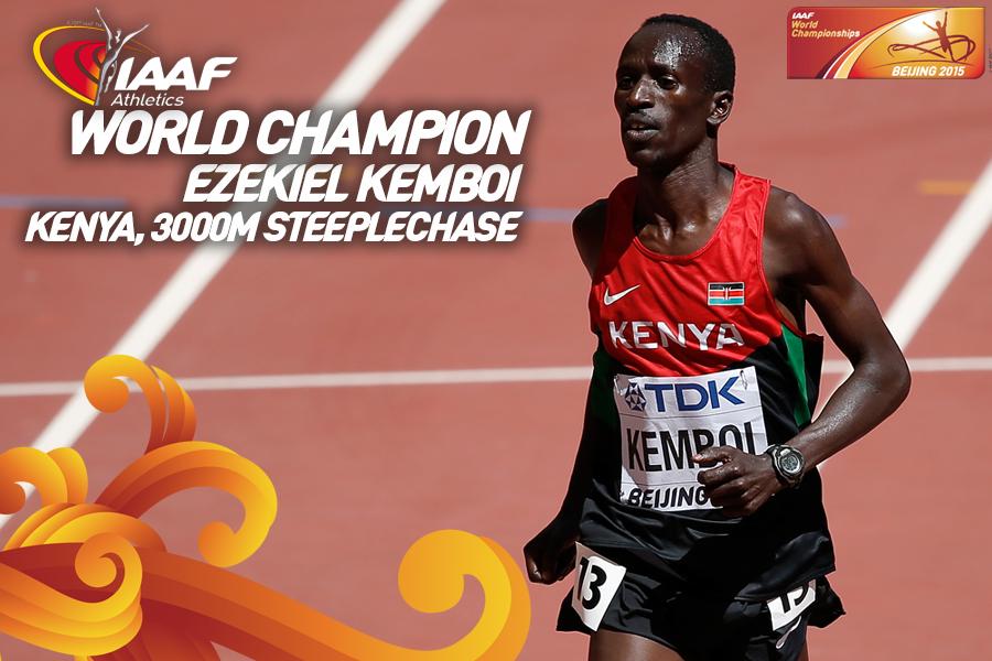 Кенийцы заняли весь пьедестал в беге на 3000 м с препятствиями на ЧМ в Пекине +Видео