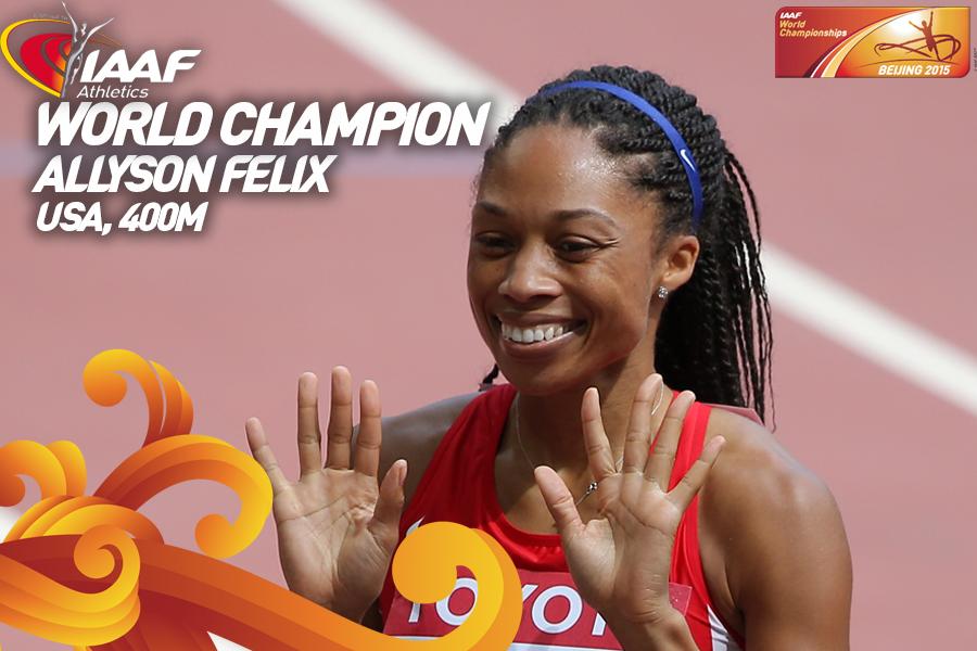 Эллисон Феликс победила в беге 400 м на чемпионате мира в Пекине +Видео