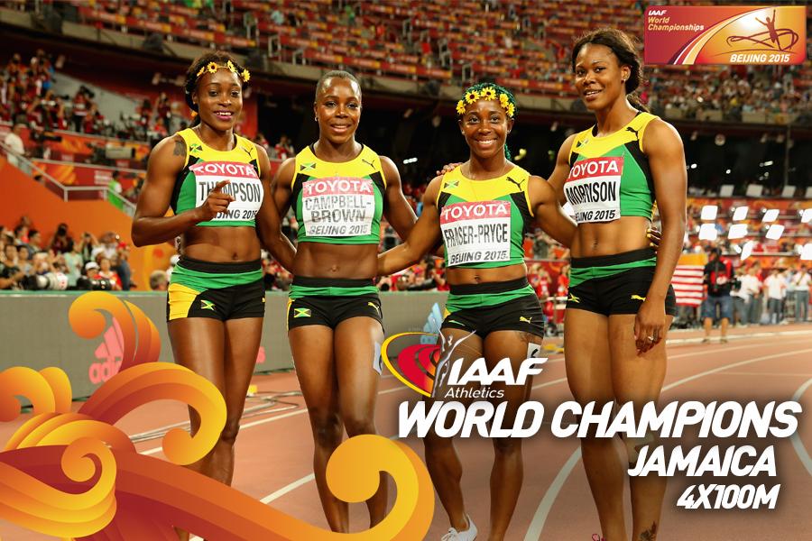 Женская сборная Ямайки выиграла эстафету 4х100м на ЧМ, россиянки не финишировали +Видео