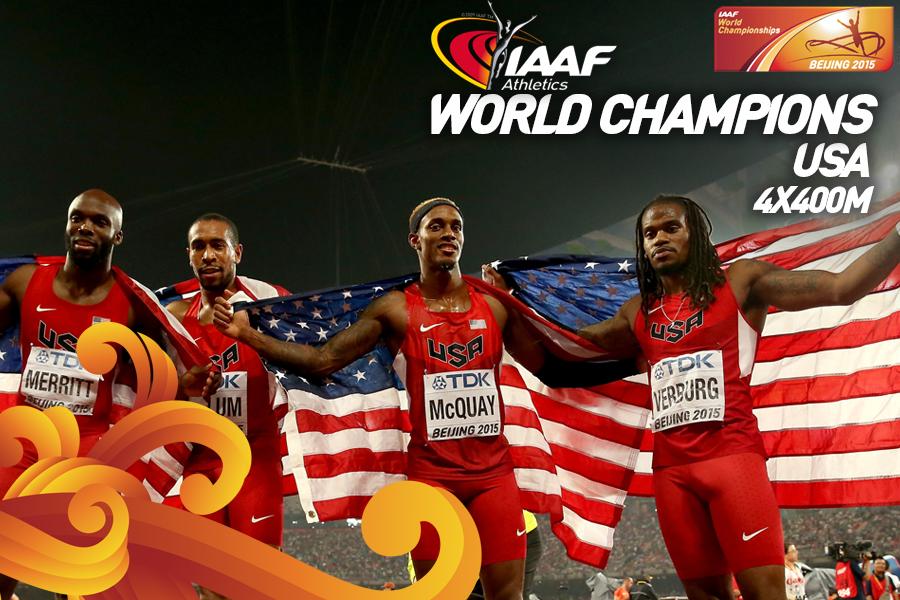 Американцы победили в эстафете 4х400 м на ЧМ  +Видео