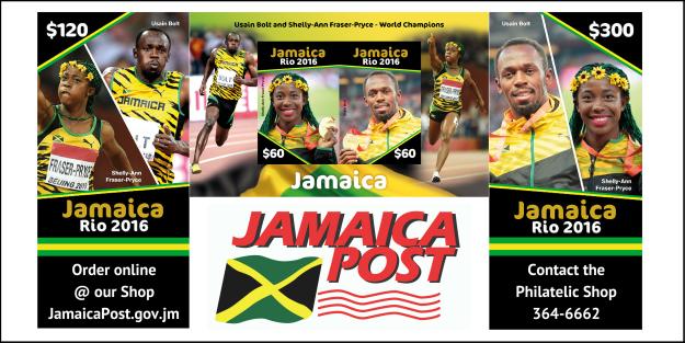 Почта Ямайки выпустила марки с Усэйном Болтом и Шелли-Энн Фрейзер-Прайс