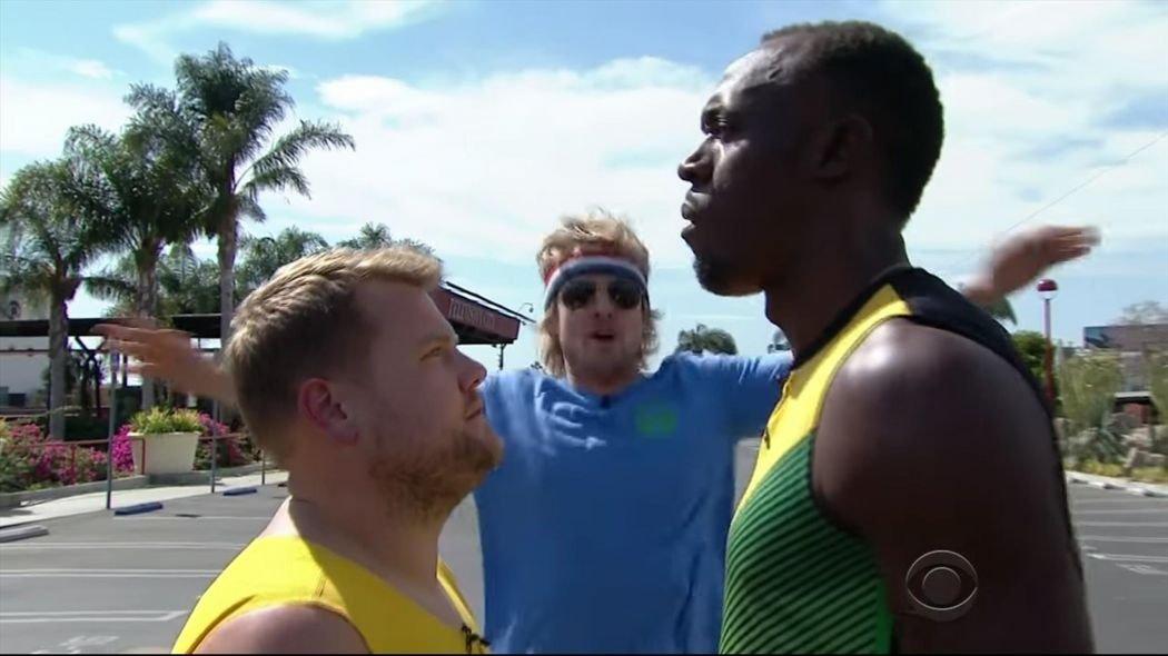 Усэйн Болт пробежал стометровку с Оуэном Уилсоном и Джеймсом Корденом +Видео