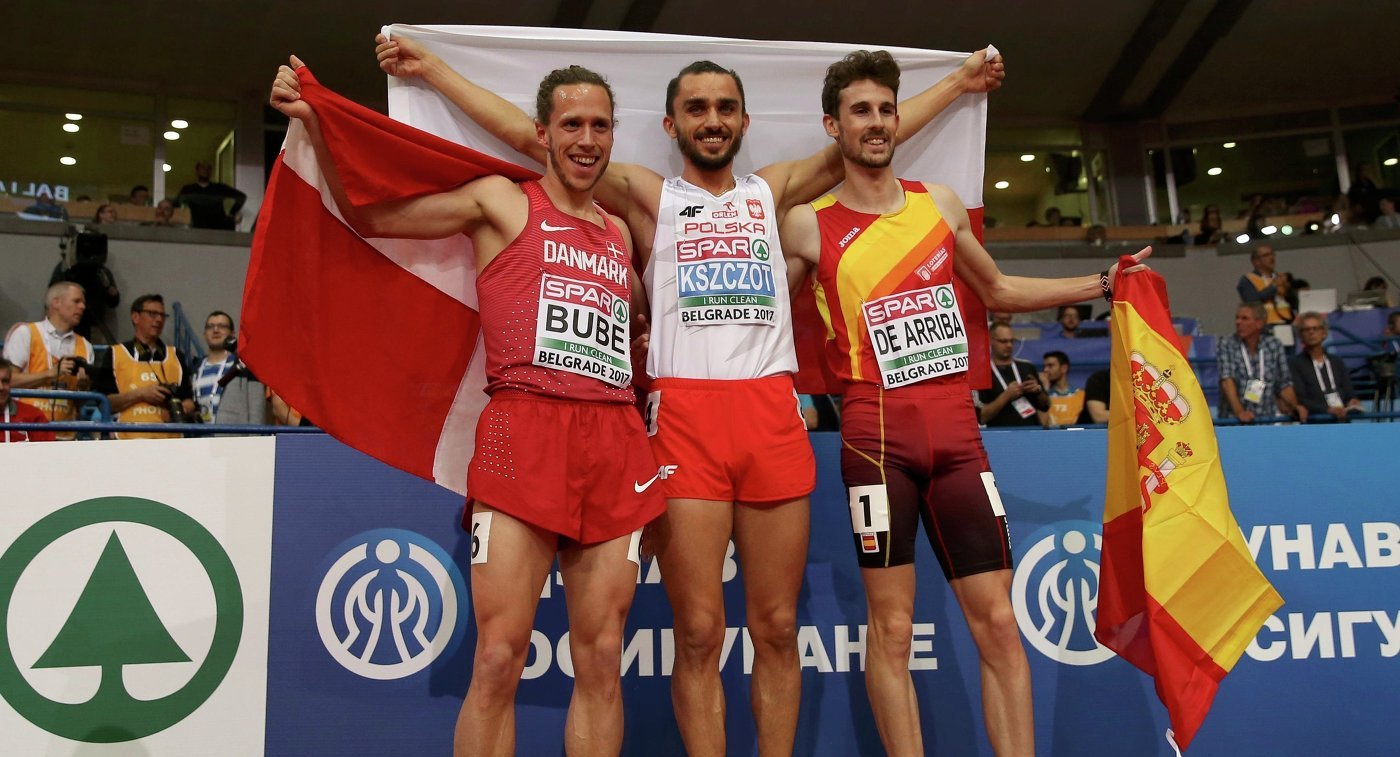 Адам Кщот и Селина Бюхель победили в беге на 800 метров на ЧЕ по легкой атлетике в помещении +Видео